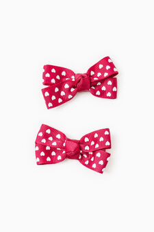 Two-pack hair clips with bow, Claret Red, hi-res