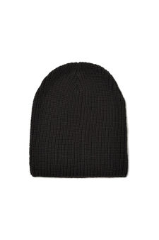 Solid colour knitted beanie cap, Black, hi-res