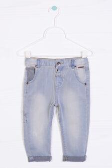 Jeans effetto delavé con risvolto, Blu chiaro, hi-res