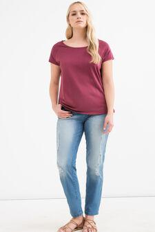 Curvy solid colour cotton T-shirt, Claret Red, hi-res