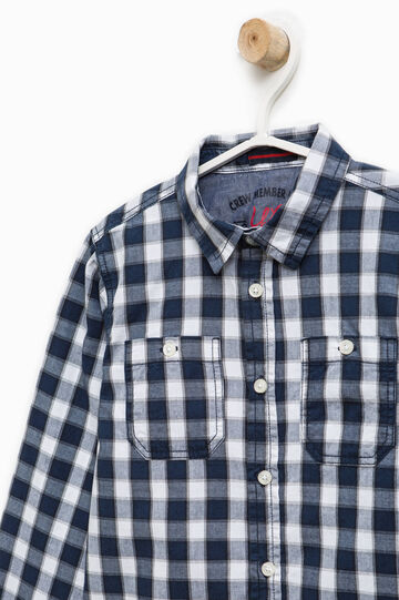 Check shirt in 100% cotton, White/Blue, hi-res