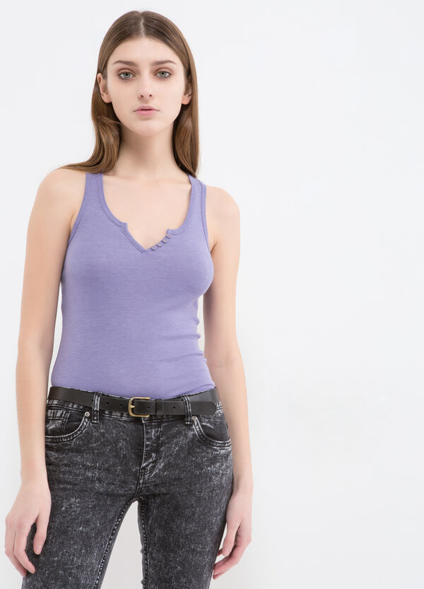 Cotton blend top with small buttons | OVS