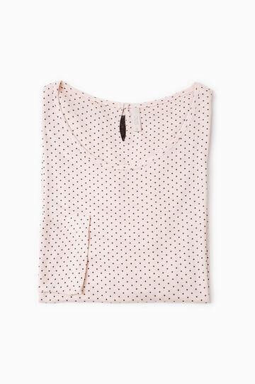 Lace pyjama top with polka dots, Light Pink, hi-res