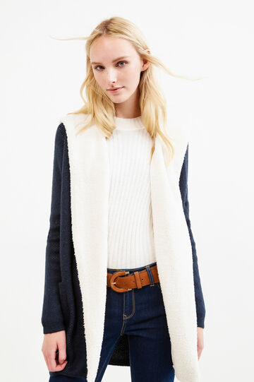 Fur lined long cardigan, Blue, hi-res