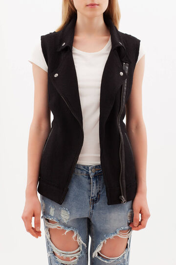 Waistcoat with zip, White/Black, hi-res