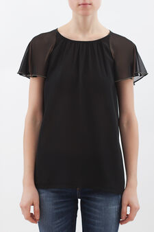 Plain blouse with studs., Black, hi-res