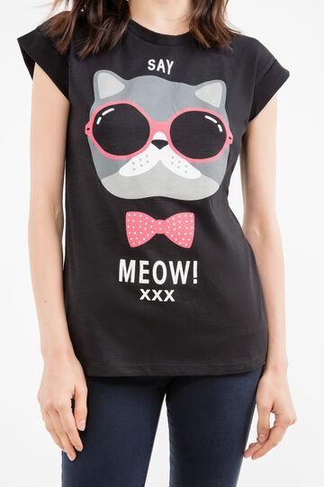 T-shirt puro cotone con stampa, Nero, hi-res