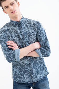 Cotton shirt with print, Blue, hi-res