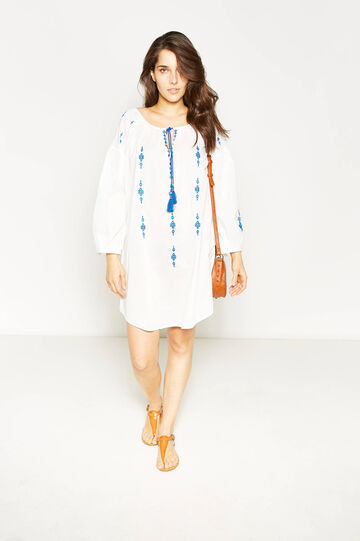 Curvy embroidered dress with tassels, Cream White, hi-res