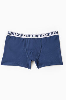 Cotton boxers with embroidered lettering, Navy Blue, hi-res