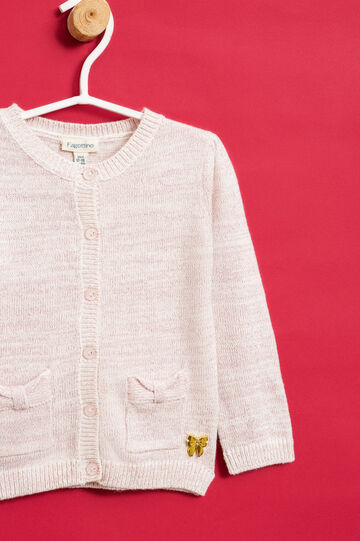 Cardigan with bow insert, Pink, hi-res