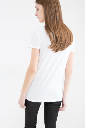 Cotton T-shirt with unicorn print, White, hi-res