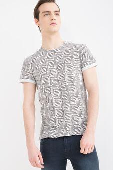 T-shirt with geometric print, White, hi-res