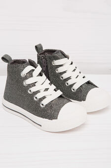 High-top sneakers with zip, Grey, hi-res