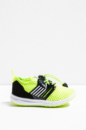 Sneakers with ties and mesh upper, Yellow, hi-res