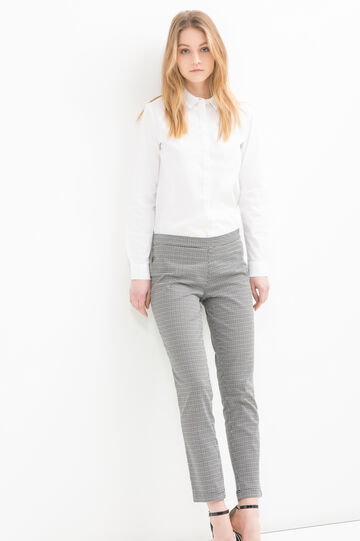 Pantaloni stretch fantasia, Bianco/Nero, hi-res