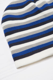 Striped knitted beanie cap, Multicolour, hi-res