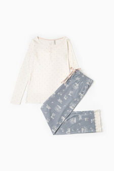 Star pattern pyjamas in 100% cotton, Cream White, hi-res