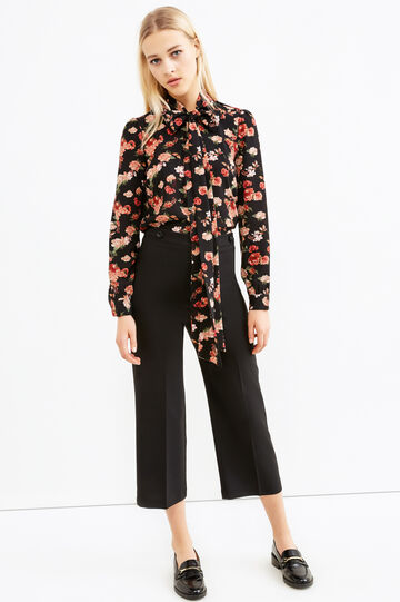 Cropped trousers with crease., Black, hi-res
