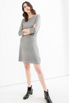 Solid colour viscose blend dress, Grey, hi-res