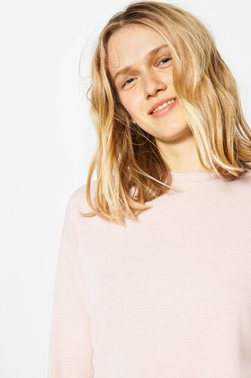 Stretch viscose sweatshirt with striped weave, Baby Pink, hi-res