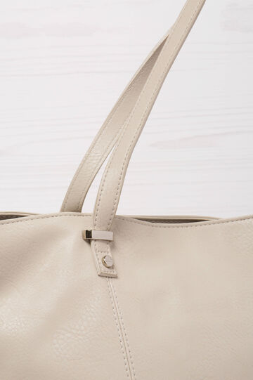Solid colour leather look shoulder bag., Grey, hi-res