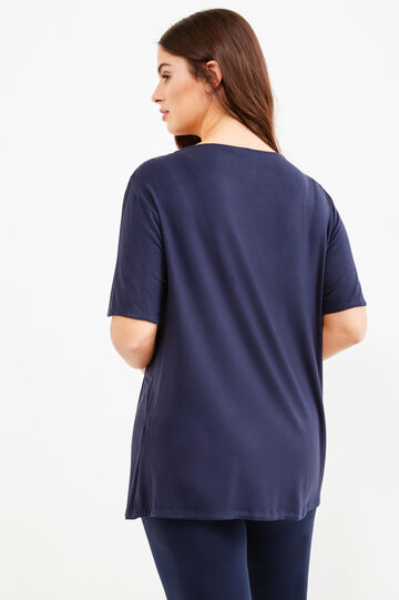 Curvy T-shirt in stretch viscose with diamantés, Blue, hi-res