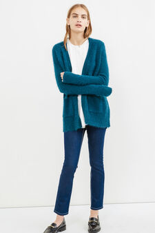 Cardigan with buttonless opening, Petrol Blue, hi-res