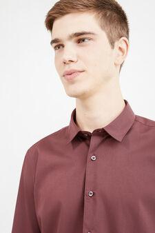 Camicia casual tinta unita misto cotone, Rosso bordeaux, hi-res