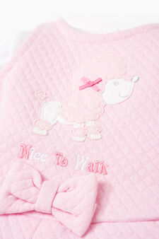 T-shirt and quilted dress outfit, Grey/Pink, hi-res