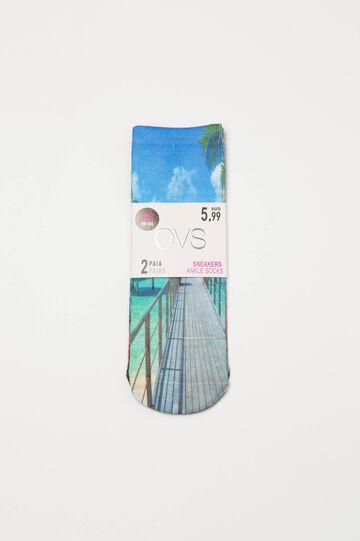 Set due paia di calze stretch con stampa, Verde, hi-res