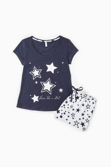 Star print pyjamas in 100% cotton, Blue, hi-res