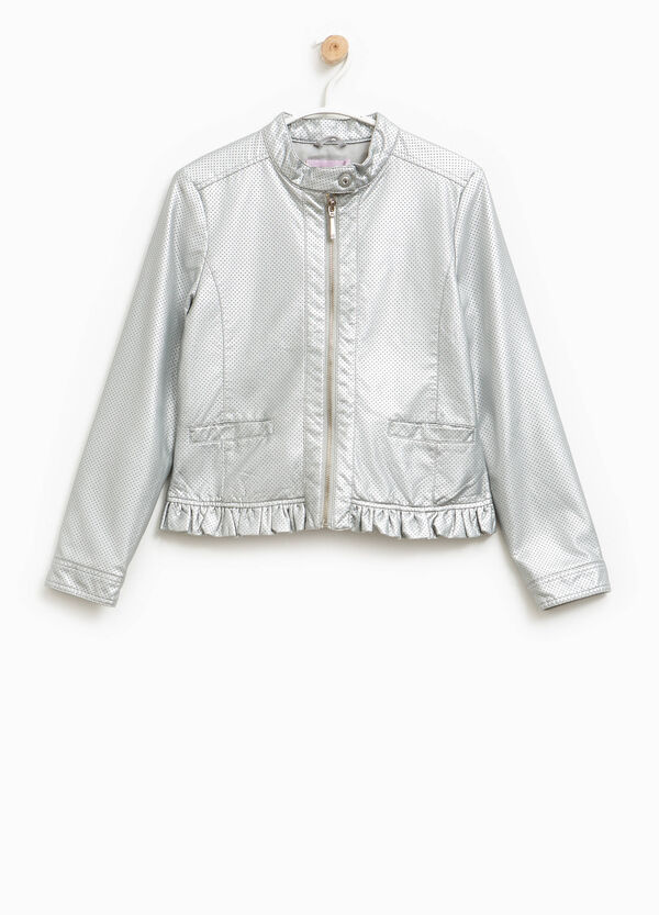 Shiny openwork jacket with frills | OVS