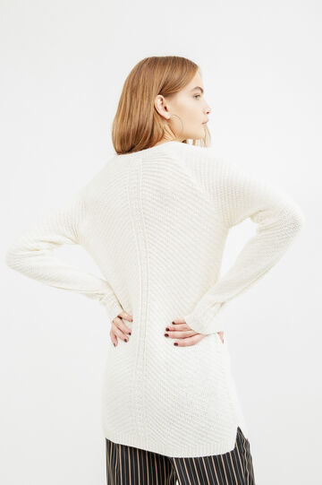Cotton and lurex knit pullover, White, hi-res