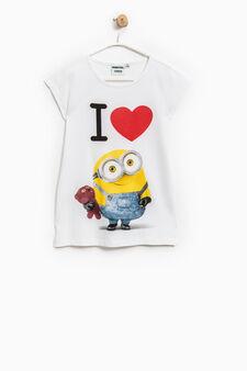 Minions print cotton T-shirt, White, hi-res