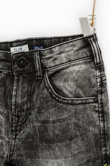 Jeans slim fit stretch effetto used, Nero, hi-res