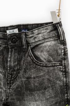 Used-effect slim-fit stretch jeans, Black, hi-res