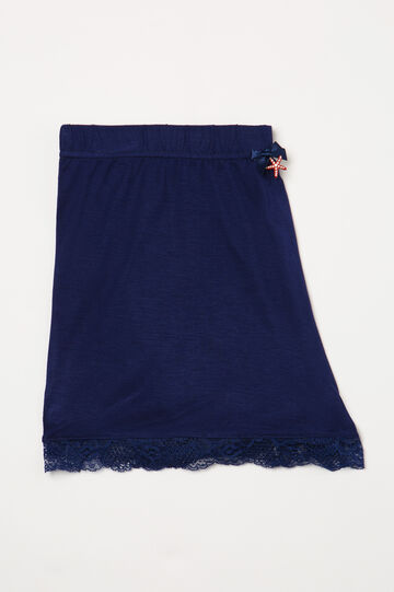 Pyjama shorts in viscose and lace, Blue, hi-res