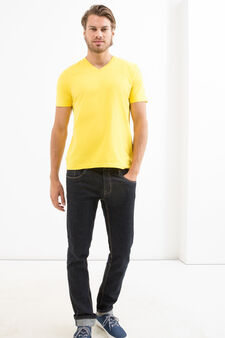 V-neck T-shirt in 100% cotton, Yellow, hi-res