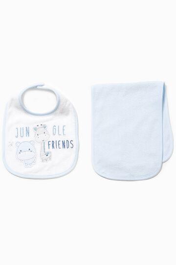 Cotton towel and bib set, White/Light Blue, hi-res