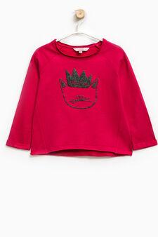 100% cotton sweatshirt with glitter print, Cherry Red, hi-res