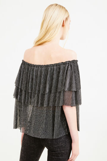Blouse with boat neck with flounces., Grey/Silver, hi-res