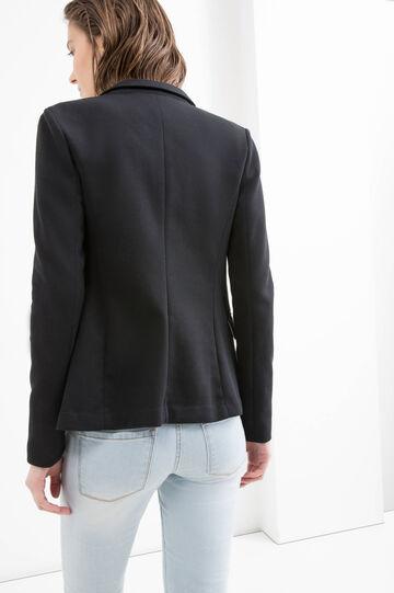 Solid colour cotton blend blazer, Black, hi-res