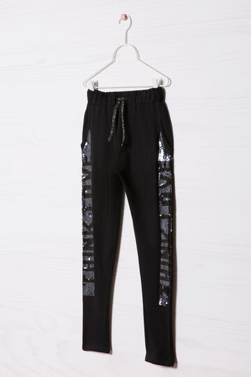 Cotton sequinned trousers, Black, hi-res