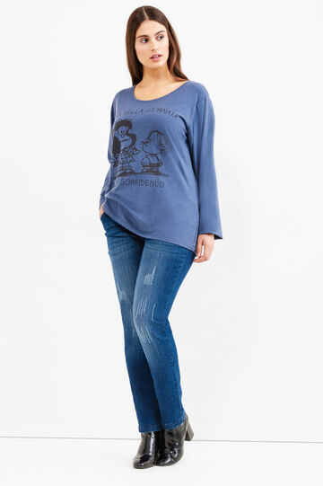 Curvy stretch T-shirt with Peanuts print, Navy Blue, hi-res