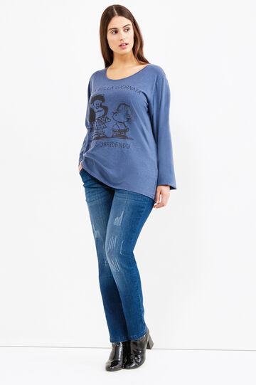 T-shirt stretch stampa Peanuts Curvy, Blu navy, hi-res