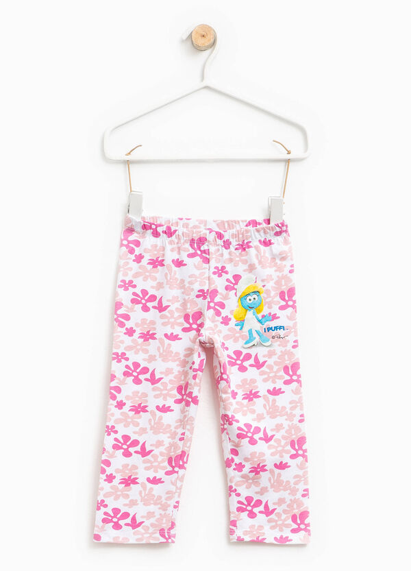 Leggings with floral pattern and Smurfs print | OVS