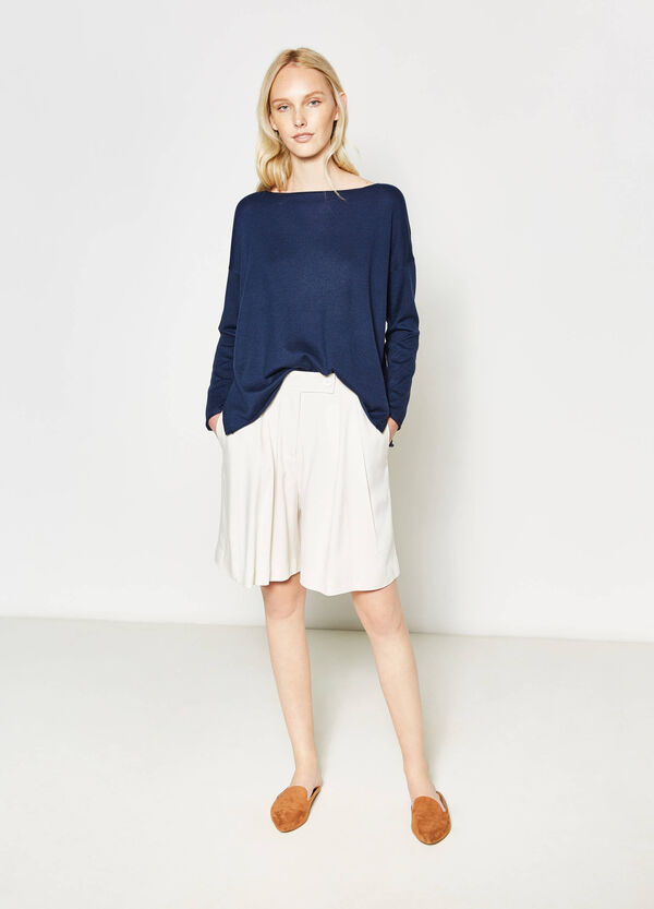 Cotton pullover with raw edges | OVS