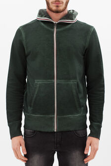 100% cotton hoodie with zip in contrasting colour, Olive Green, hi-res