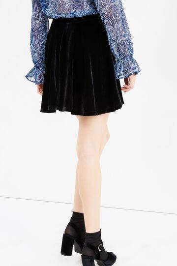 High-waisted velvet mini skirt, Black, hi-res